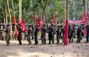 Maoist Rebels Marching Through Forests in India