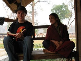 Ben Peterson (left) interviewing a commander of the Maoists' Peoples Liberation Army